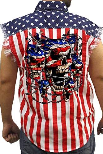 SHORE TRENDZ Men's USA Flag Sleeveless Denim Shirt Patriotic Skulls with...