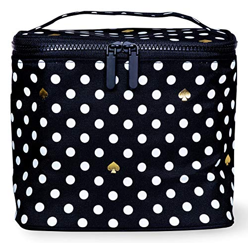 Kate Spade New York Insulated Soft Cooler Lunch Tote with Double Zipper Close and Carrying Handle Polka Dots Black/White