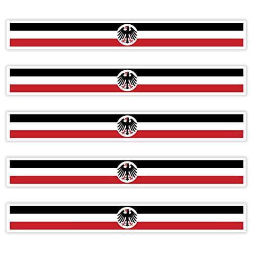 5 x Aufkleber KAISERREICH - Mit Reichsadler f. KFZ Auto Motorrad Boot Flagge Fahne