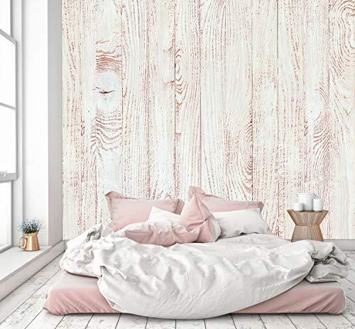 murimage Papel Pintado Óptica de Madera Blanca 274 x 254 cm Incluye Pegamento Fotomurales Vintage Shabby Chic 3D escandinavo...