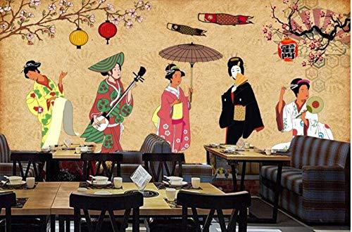 Mural 3D Tela De Seda Interior Decoración Papel Tapiz 3D Japón Vintage Carácter Tienda Restaurante Fondo De Pared, 150Cmx105Cm