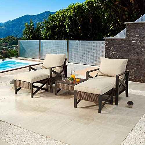 Festival Depot 5 Pieces Patio Outdoor Conversation Brown Wicker Rattan Chairs Cushions Ottomans Set Coffee Square Table Black Classic Metal Frame Furniture Garden Bistro Seating Thick Soft Cushions