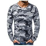 Hombres Camisetas Deportivo Camiseta Manga Larga Camuflaje Pullover Running Gym Entrenamiento Sweatshirt Impresión Tops Cómodo Básica Casual Otoño Invierno(Gris,L)