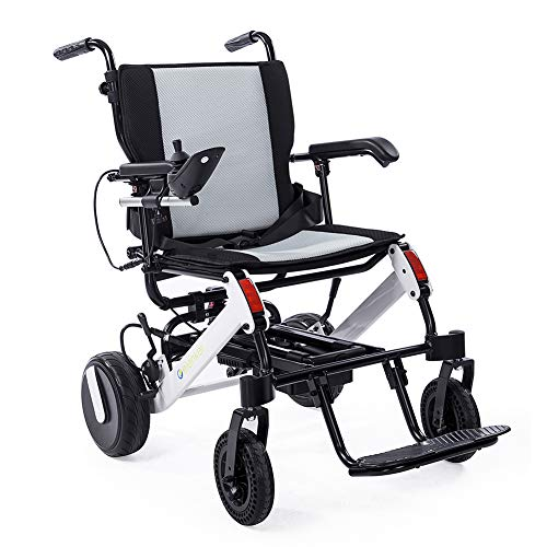 ELENKER Electric Wheelchair, Portable Power Compact Lightweight Deluxe Foldable Mobility Aid Wheel Chair Weight with 300w Brushless Motors