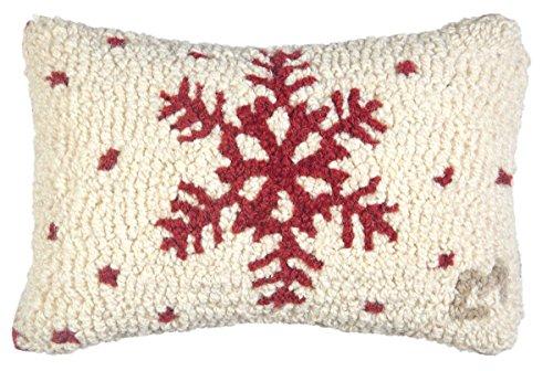 "Chandler 4 Corners Red Flake Snowflake on White 8""x12"" Pillow"