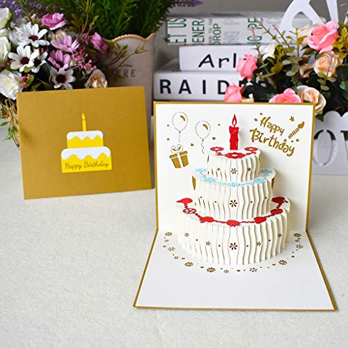 TSBB 3D Pop Up Alles Gute zum Geburtstag Grußkarten Kuchen Postkarten Einladungen mit Umschlag