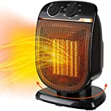 Electric Space Heater Portable - Oscillating Ceramic Small Heater with Adjustable Thermostat, Overheat Protection and Tip-over Switch for Personal Indoor Office Desk Garage Fan Heaters