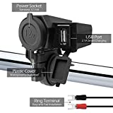 GoHawk Waterproof Motorcycle 5V USB 2.1A Charger Adapter Kit Cable, 12V Car Cigarette Lighter Socket Outlet, 7/8-1 1/8' Handlebar Clamp ATV UTV Handlebar Clamp for Phone Camera