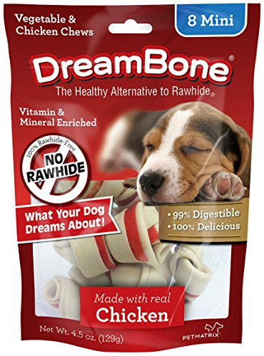 DreamBone Mini Chews With Real Chicken 8 Count, Rawhide-Free Chews For Dogs