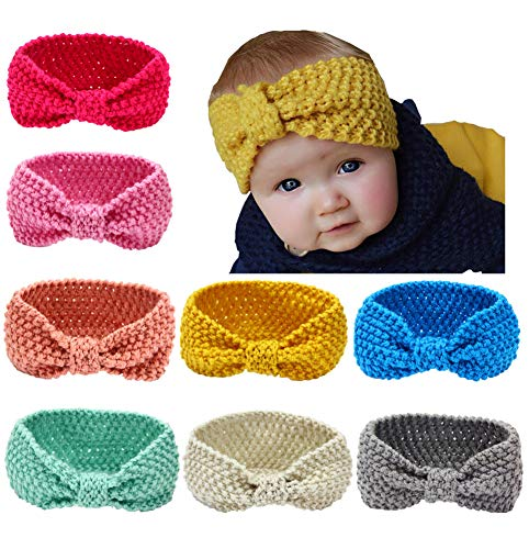 Baby Headbands Turban Knotted, Girl's Hairbands for Newborn, Toddler and Children's (8 Knitted Hairband)