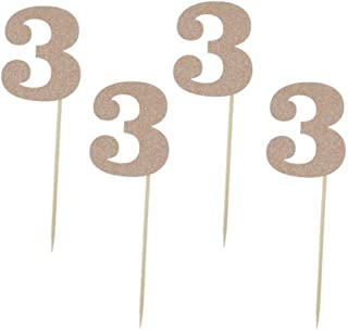 """Glitter Rose Gold 3rd Birthday Party Cupcake Toppers. 24 Pack Number 3"""" Cupcake Toppers"""