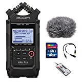 Zoom H4n Pro All Black 4-Track Portable Recorder (2020 Model) with Windscreen, Mic Attenuator Cable, 16GB Memory Card & Remote Control Bundle