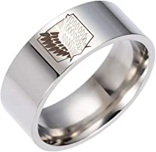 WerNerk Anime Attack On Titan Stainless Steel Ring for Men Scout Regiment Wings Engraved Finger Ring Fashion Jewelry with Chain Anime Fans Gifts( #10 Silver)