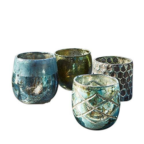 Loberon Windlicht 4er Set Marine, Glas, H/Ø ca. 9/9 cm, Petrol