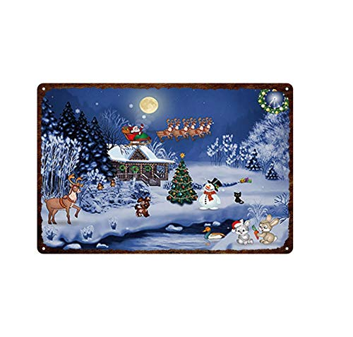 Aya611 Plaque Iron Painting Holiday Celebration Retro Decor Card With Cute Cats&dogs Wearing Christmas Hats Plaque Tin Painted Metal Fade-resistant Tin Sign 20cmx30cm 5