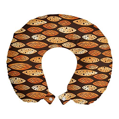 ABAKUHAUS Astratto Cuscino da Viaggio, Spots Waves ellittico, Accessorio in Schiuma di Memoria per Viaggio, 30 cm x 30 cm, Arancione Marrone