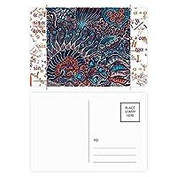 抽象的なシームレスなテクスチャの魚類の動物 公式ポストカードセットサンクスカード郵送側20個