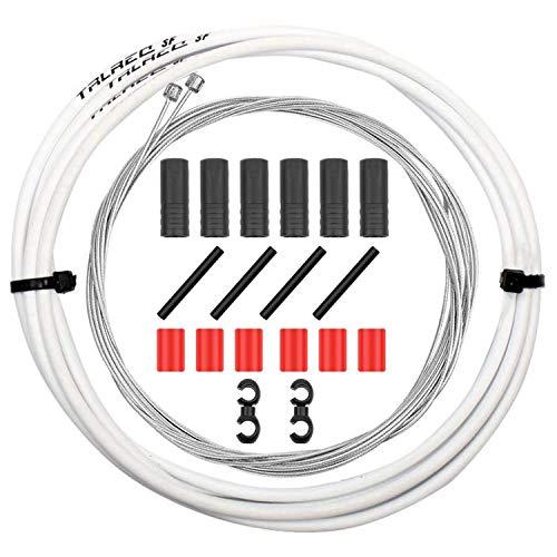 CTRICALVER Cable de freno y carcasa de bicicleta, juego de cables de freno de bicicleta de montaña, cables de freno universales para bicicleta MTB/bicicleta de carretera (blanco)