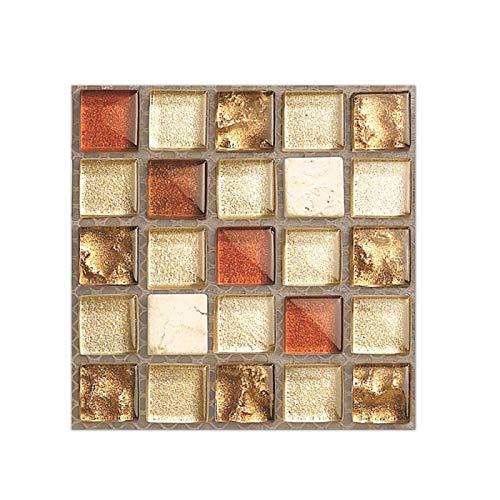 Pegatinas para azulejos de mosaico, 3D tridimensionales pegatinas de pared de baño, impermeables, autoadhesivas, para baño, cocina, impermeable, extraíble (10 x 10 cm)