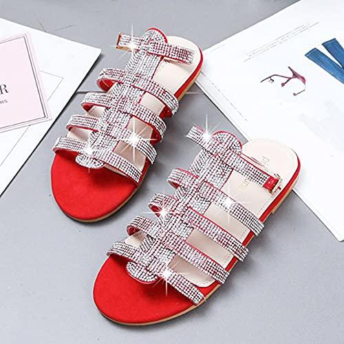 Płaskie sandały damskie Lato 2021 Wygodne czeskie buty Płaskie sandały Letnie odkryte palce Beach Pas pięty,Red,37