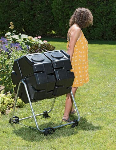 Find Cheap Gardener's Supply Company Dual Batch Outdoor Compost Tumbler with Wheels, Easy Turning, H...