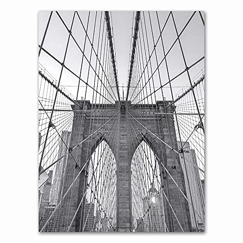 Cuadro nórdico negro y blanco de la ciudad de Nueva York Edificio de Brooklyn Puente de la pintura de la pared del póster del arte de la pared del salón de la oficina del estudio mural decoración