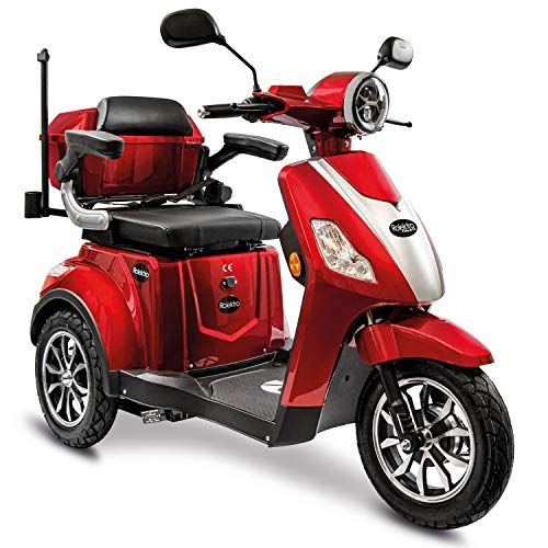 Rolektro E-Trike 25 V.3 Pro Dreirad Rot - 1000W Elektroroller - 70km Reichweite - herausnehmbarer Lithium Akku - LED Licht - Seniorenmobil mit Straßenzulassung