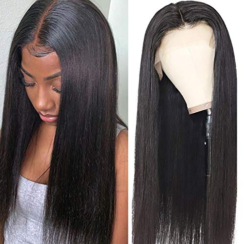 ITODAY Lace Front Human Hair Wigs (22 Inch) Brazilian 13×4×0.5 Straight Hair Wig with Baby Hair for Black Women T Middle Part Lace Front Wigs Human Hair 150% Density(22, T Part Straight)