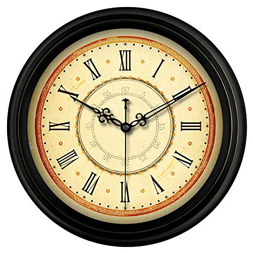 Everyday home Classique Européenne Ronde Horloge Murale Art Rétro Simple Silencieux Haute Standard Précision En Métal Verre Décoration Salon Chambre Étude Café (Couleur : B, taille : 14 inches)