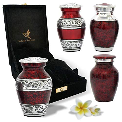 Handgefertigte Mini-Urnen für die menschliche Asche, 4 Stück mit Premium-Box und Beutel, perfekte rote Urne für Erwachsene und Kleinkinder