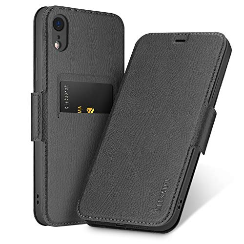 ELESNOW Funda para iPhone XR, Carcasa de Cuero con Cierre Magnético y Tarjetero para Apple iPhone XR 6.1 Pulgada (Negro Oscuro)