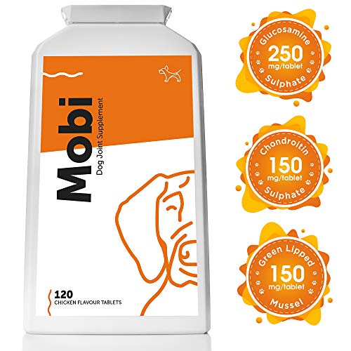 Mobi Advanced Glucosamine for Dogs – Premium Joint Mobility Support Supplement with Powerful and Natural Glucosamine, Chondroitin, Green Lipped Mussel, MSM, Curcumin; UK Made (120 Tablets)