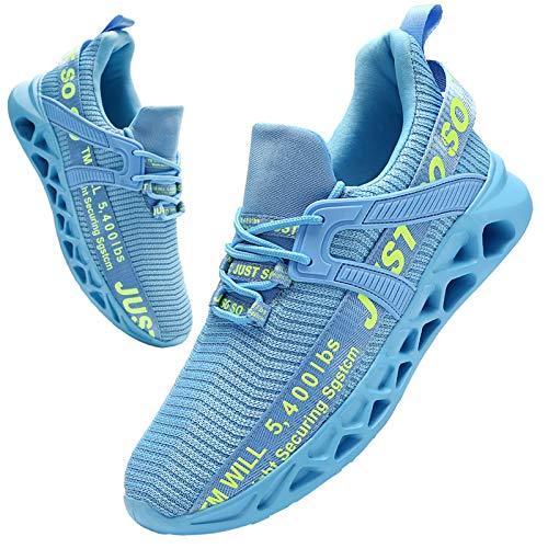 BUBUDENG Hombre Deportivas Zapatillas Running Hombre Tenis Zapatillas de Tenis para Hombre con Cordones Casuales y Ligeras Azul EU41