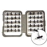 NEWSHOT Moscas de pesca con mosca, 40 señuelos para hormigas con mosca seca con caja para trucha