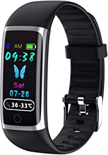 LBFXQ Fitness Tracker HR, Racker Fitness Reloj con Ritmo Cardíaco Y Monitor De Sueño, Reloj Inteligente Teléfonos Compatibles Natación Impermeable,Negro