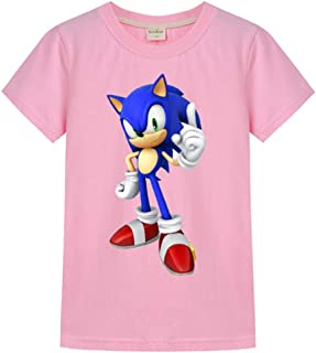Toddler's 100% Cotton Cool Sonic The Hedgehog Style T-Shirt Youth Boys Girls Short Sleeve Cartoon Tee