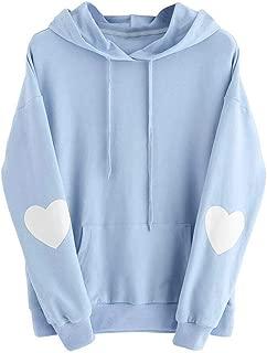 Libermall Women's Warm Long Sleeves Sweatshirts Heart Print with Pocket Pullover Sweatshirts Hoodies Coat Outwear