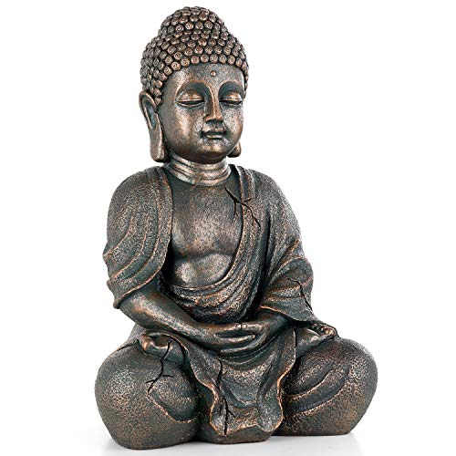 "Meditating Seated Buddha Statue, 14.7"" Tall Antique Polyresin..."