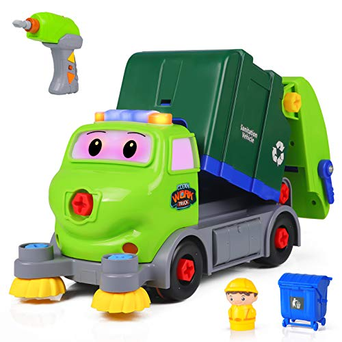 DX DA XIN Take Apart Vehicle Toys, DIY Garbage Truck with Built-in Lights and Music Electric Drill STEM Assembly Toy for Kids Boys Girls Remote Control Play-Set Gift