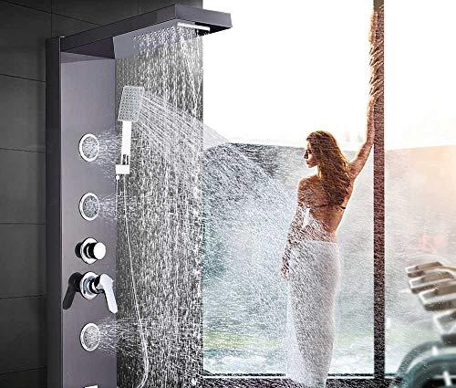 LCDIEB Duschsystem Duschpaneel aus gebürstetem Nickel Duschsäule Wandmontage Regenwasserfall Duscharmatur Turm Einhandmischer Wasserhahn, Schwarze Bronzeplatte