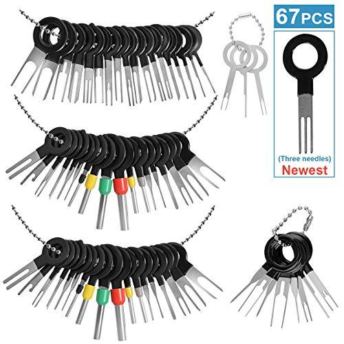 67pcs Terminal Removal Tool Kit für Auto, Auto Elektrische Verkabelung Crimpverbinder Pin Extractor Puller Reparaturentferner Schlüsselwerkzeuge Set für die meisten Anschlussklemmen