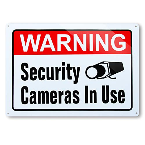 Dxsigns Warning Security Cameras in Use Signs,No Trespassing Video Surveillance Sign, 10x14 Inch Rust Free 30-mil Aluminum,UV Ink Printing,Indoor or Outdoor Use for Home Business CCTV Security Camera