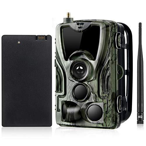 YTLJJ 4G Caméra de Chasse 16MP 1080P avec Batterie au Lithium 5000Mah, Trail Caméra MMS SMS avec Sécurité No Glow Vision Nocturne Infrarouge activé, 0.3s Vitesse de Déclenchement, IP65 Étanche