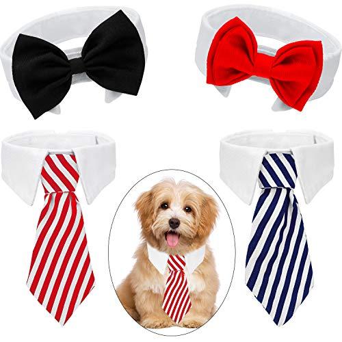 4 Stücke Haustier Fliege Einstellbare Haustier Krawatte Kostüm Formale Hundehalsband für Kleine Hunde und Katzen Hündchen Pflege Krawatten Party Zubehör (S, Schwarz, Rot, Rot Weiß, Blau Weiß)