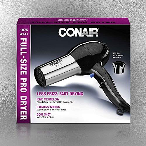 Conair 1875 Watt Full Size Pro Hair Dryer with Ionic Conditioning, Black/Chrome