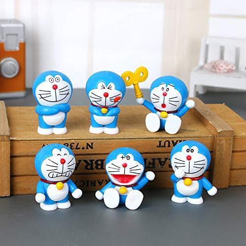 (6) Doraemon Car Decoraciones Doraemon Adornos para el hogar Muneca PVC Estatua-Altura: 4 CM