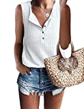 MOLERANI Womens Casual Tops V Neck Sleeveless Cute Waffle Knit Shirts Tank Tops (M, White)