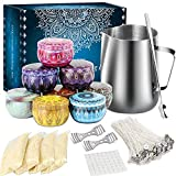 Tobeape DIY Candle Making Kit Supplies, Arts & Craft Tools Including Pouring Pot, 50 Pcs Cotton Wicks, Candle Wicks Holder, Beeswax, Spoon & Candles tins