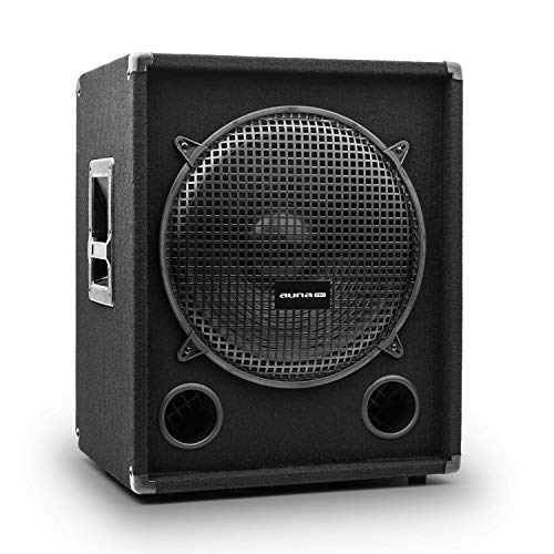 auna Pro PW – subwoofer pasivo de PA, Tweeter, bassreflex, bocina para Tonos Medios, impedancia 8 Ohm, Asas, Funda Protectora, Potencia: 500 W RMS / 1000 W MAX., Negro