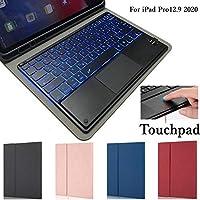 タッチパッド機能 ipad pro 12.9キーボードケース 2020 バックライト付き ペンホルダー付き 分離式Bluetoothキーボード付きケース 2020年型 アイパッドプロ12.9 キーボード付き 保護カバー (2020年型iPadPro12.9, 黒)